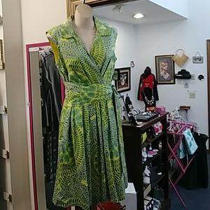 Ellen Tracy Print Sleeveless Dress NWT